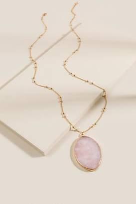 francesca's Destiny Semi-Precious Stone Pendant Necklace - Pale Pink