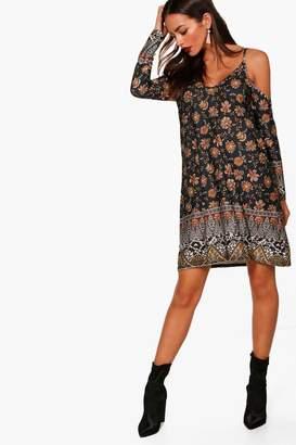 boohoo Paisley Cold Shoulder Dress