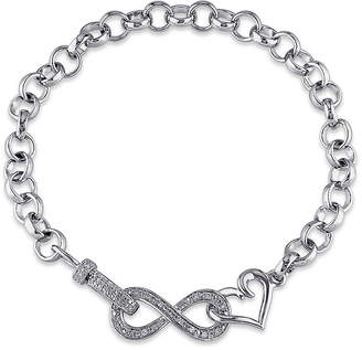 FINE JEWELRY 1/10 Ct. T.W. Diamond Sterling Silver Heart & Infinity Bracelet