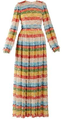 Dolce & Gabbana Fringe Trimmed Striped Gown - Womens - Multi