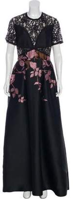 Elie Saab Lace-Trimmed Maxi Dress Black Lace-Trimmed Maxi Dress