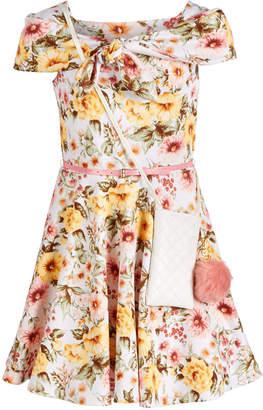 Beautees Big Girls Tie-Front Marilynn Floral-Print Dress