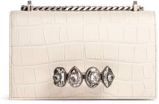 Alexander McQueen Jewelled white croco satchel