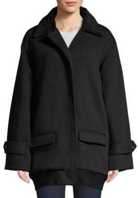 ATM Anthony Thomas Melillo Chunky Faux Shearling Collar Knit Coat