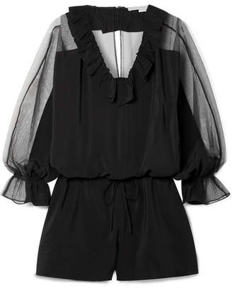 Stella McCartney Ruffled Silk Crepe De Chine And Cotton-blend Tulle Playsuit - Black