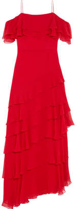 Alice + Olivia Alice Olivia - Elioisa Ruffled Off-the-shoulder Silk-chiffon Gown - Red