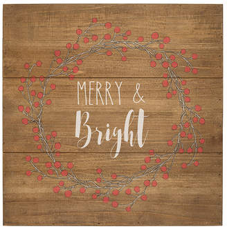 Cathy's Concepts Cathys Concepts Merry and Bright Rustic Wood Sign
