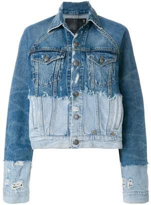 R 13 contrast denim jacket