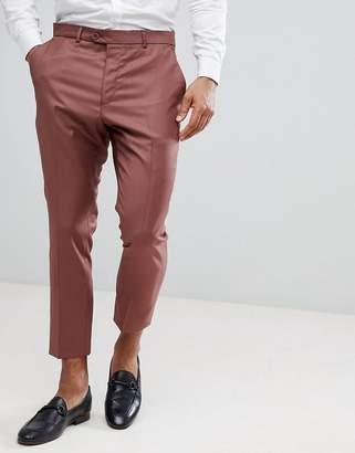 Asos Wedding Tapered Smart Pants In Light Burgundy 100% Wool