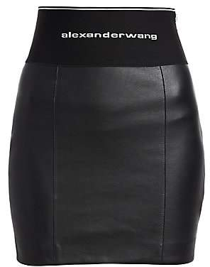 Alexander Wang Women's Elastic Logo Stretch Leather Skirt