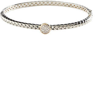 Tag Heuer FINE JEWELLERY Sterling Silver band 14K Yellow Gold And 0.05ct Diamond Bangle