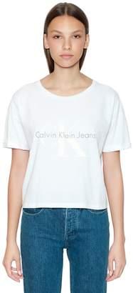 Calvin Klein Jeans Cropped Ck Logo Printed Cotton T-Shirt