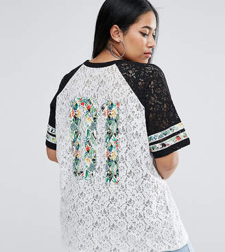 Asos T-Shirt in Lace with Tropical Varsity Print