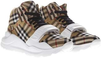 Burberry High Tartan Cotton Sneakers