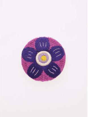 カヤ 【 】縫い飾り くるみぼたんブローチ パープル