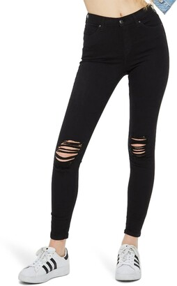 Topshop Moto Jamie High Waist Ripped Black Jeans