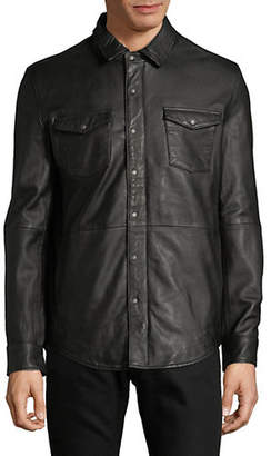 John Varvatos Oiled Leather Western Shirt Jacket
