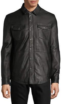 John Varvatos Oiled Leather Western Shirt Jacket