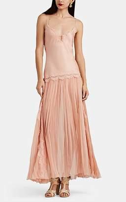 Alberta Ferretti Women's Lace-Trimmed Pleated Silk Dress - Blush