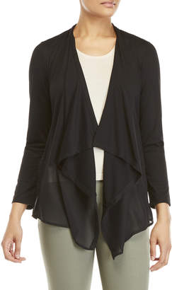 Essentials By Milano Draped Open Chiffon Trim Cardigan