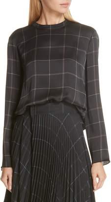 Vince Grid Plaid Silk Blouse