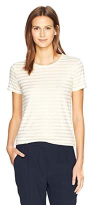 Majestic Filatures Women's Cashmere Short Sleeve Metallic Stripe Crew Neck Tee
