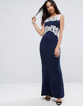 Jessica Wright Maxi Dress With Lace Inserts
