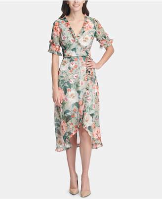 61c3d330347 Kensie Ruffled Floral-Print Wrap Dress