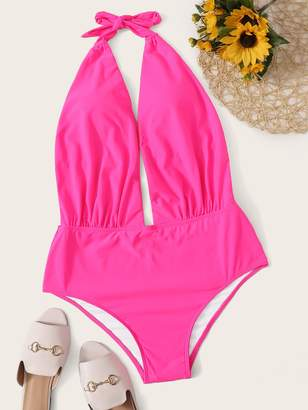 Shein Plus Neon Pink Cut Out Halter One Piece Swimwear