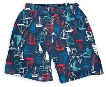 Sailboat Trunks with Built-In Swim Diaper in Navy