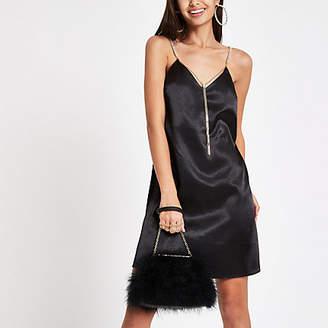 River Island Black satin chain strap slip dress