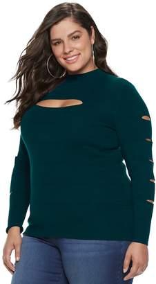 JLO by Jennifer Lopez Plus Size Slash-Sleeve Mockneck Top
