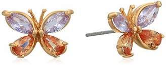Betsey Johnson GBG) CZ Butterfly Stud Earrings