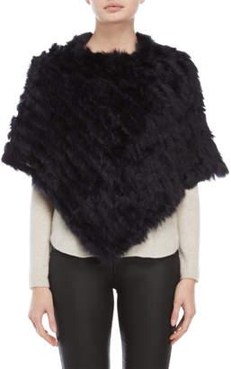 Adrienne Landau Ribbed Real Fur Poncho