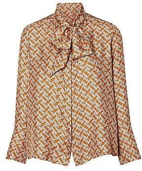 Burberry Women's Printed Silk Tieneck Blouse