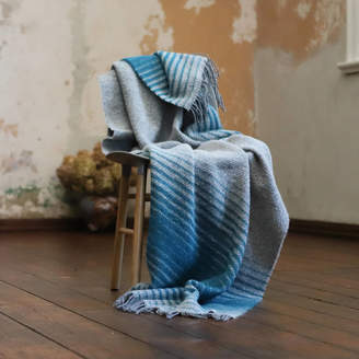 WoolMe Wool Throw Alberto Gold, Turquoise Grey