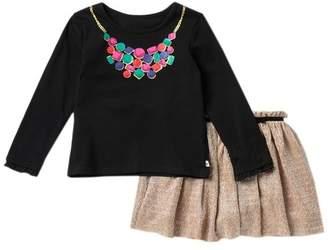 Kate Spade jewel print top & knit metallic skirt set (Toddler & Little Girls)
