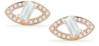 DANA REBECCA 14K Rose Gold Isla Rio Moonstone & Diamond Oval Stud Earrings