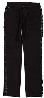 Versace Trend Leather Trim Pants