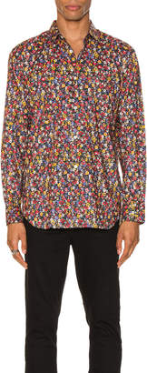Comme des Garcons Long Sleeve Shirt in Print & Red | FWRD