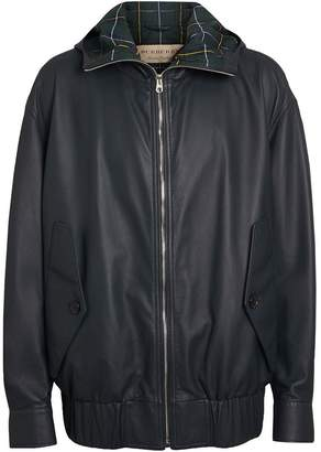 Burberry Hooded Lambskin Bomber Jacket