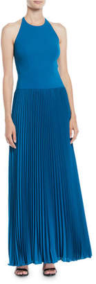 Aidan Mattox Pleated Crepe Halter Gown