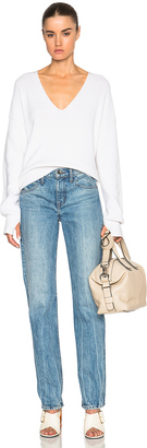 Helmut Lang Tie Back V Neck Sweater $415 thestylecure.com