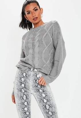 Missguided Gray Cable Knit Sweater