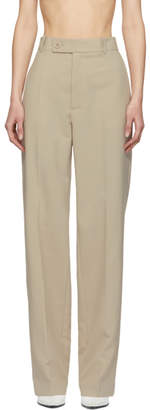 Helmut Lang Beige Poly Suit Trousers