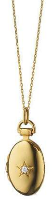 "Monica Rich Kosann 18k Gold Petite Oval Locket Necklace with Diamond Star, 17""L"