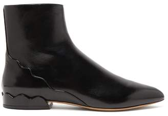 Chloé Laurena Scalloped Leather Ankle Boots - Womens - Black