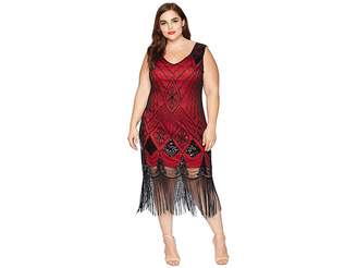 Unique Vintage Plus Size Sequin Lina Fringe Flapper Dress
