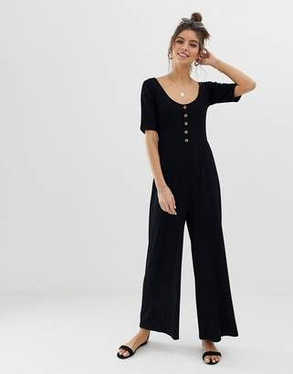 Asos Design DESIGN short sleeve rib button front jumpsuit
