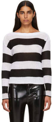 Rag & Bone Black and White Striped Allie Boatneck Sweater